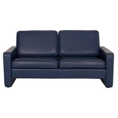 COR Conseta Leather Sofa Blue Two-Seater Couch