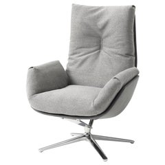 COR Cordia Swivel Lounge Chair in Fabric, Leather or a Combination of Both