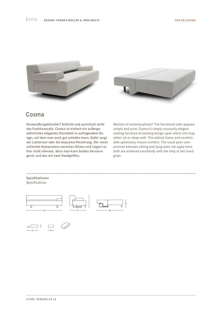 COR Cosma Sleeper Sofa in Fabric or Leather For Sale 2