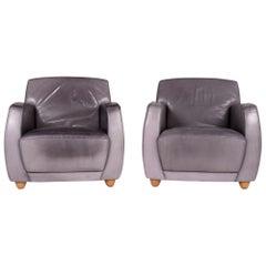 COR Dio Leather Armchair Set Gray 2 Armchair