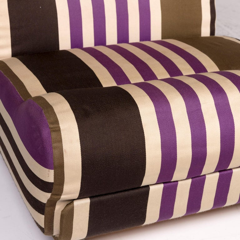 COR Fabric Armchair Multi-Color Beige Striped For Sale At