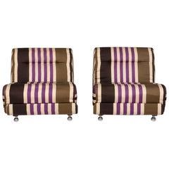 COR Fabric Armchair Set Multi-Color Striped Beige 2 Armchair