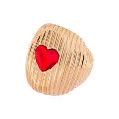Cor Gold plated red swarovski heart ring NWOT