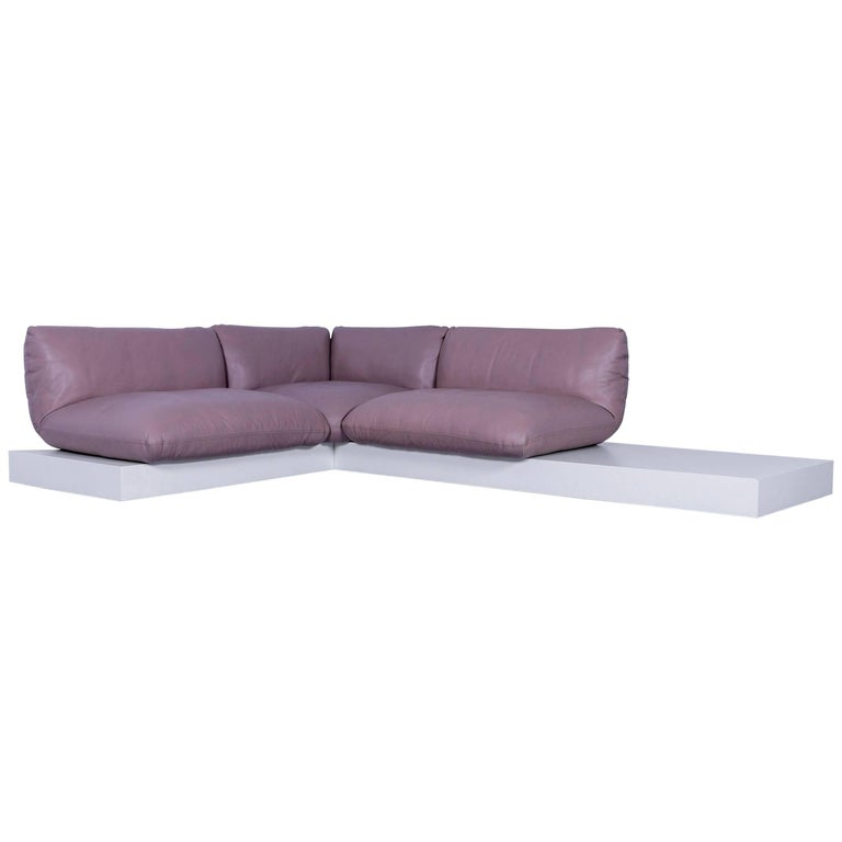 Cor Jalis Leather Corner Sofa Brown White Wood For Sale At 1stdibs