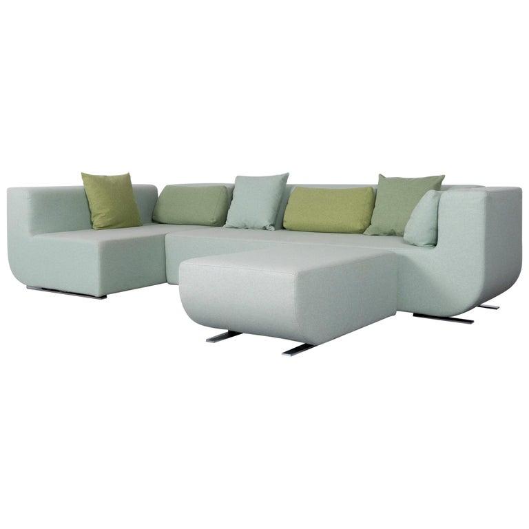 COR Nuba Designer Fabric Sofa Green Corner Couch For Sale at 1stdibs