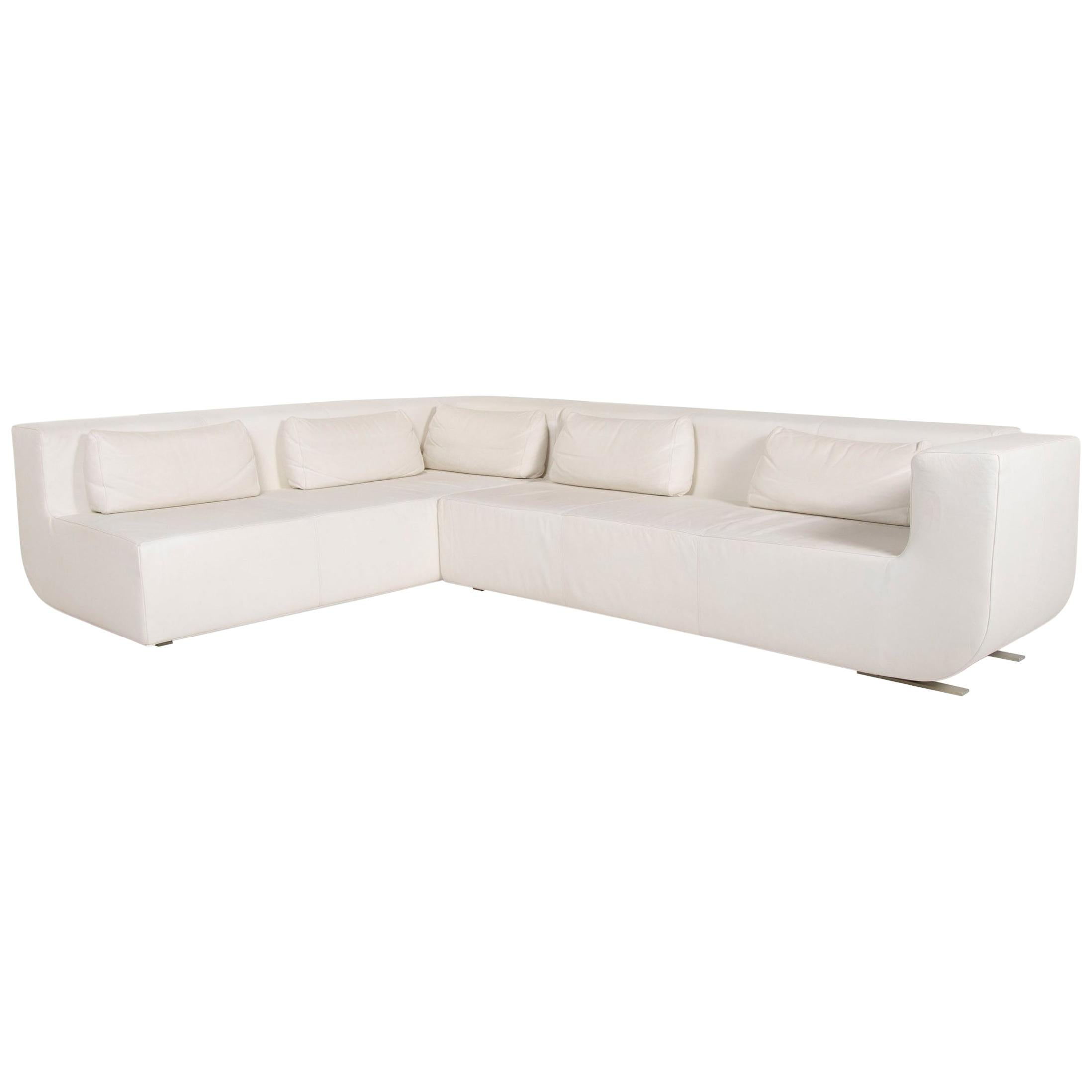 COR Nuba Leather Corner Sofa Cream Sofa Couch