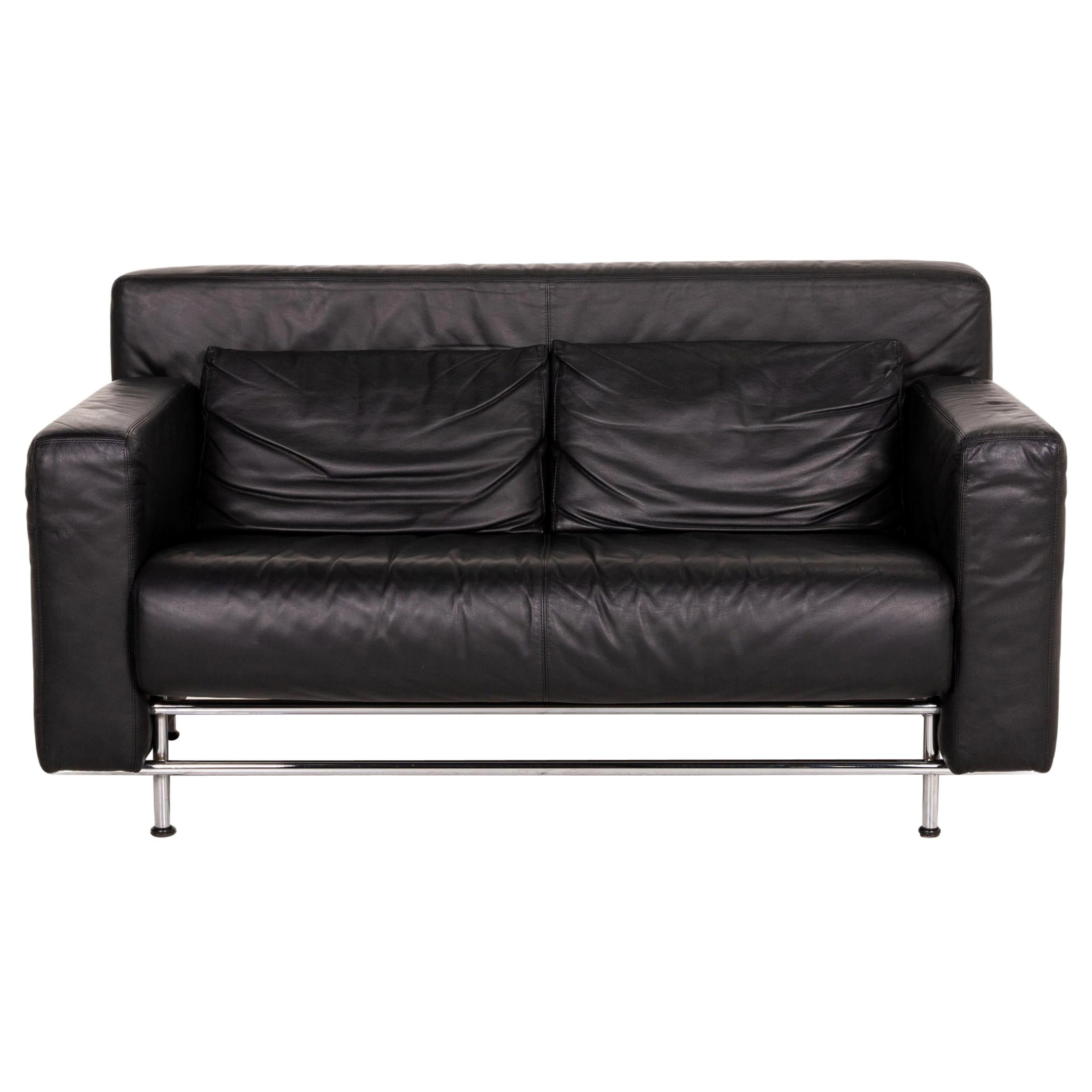 COR Quarta Leather Sofa Black Two-Seater Couch