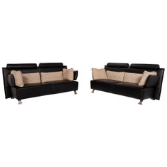 COR Sera Leather Sofa Set Black 2x Two-Seater Function