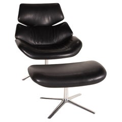 COR Shrimp Leather Armchair Black Incl. Stool