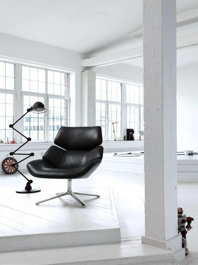 Cor Shrimp Swivel Lounge Chair And Ottoman In Fabric Or Leather With