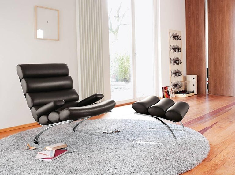 Cor Sinus Lounge Chair With Ottoman With Or Without Arms In Fabric