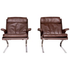 COR Swing Designer Leather Armchair Set Brown by Reinhold Adolf Real Leather