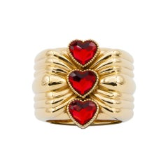 Cor Three red hearts gold plated ring NWOT