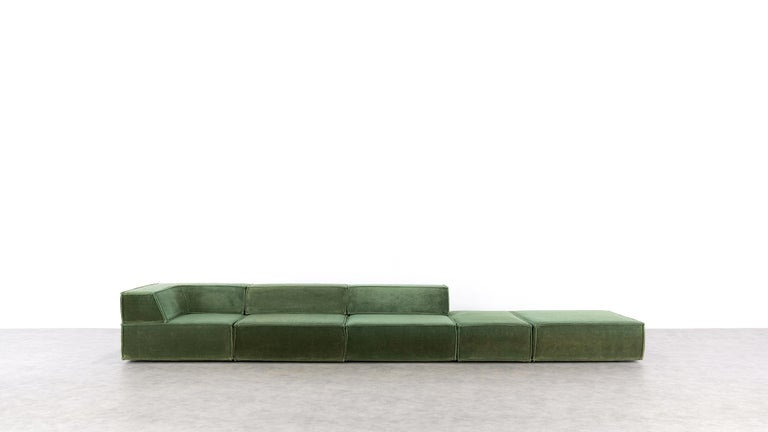 The modular sofa system, which was created in 1972 by Team Form AG in Switzerland for COR, blends seamlessly into any environment. Taking the backrest away it can also be used as a very comfortable bed.  The double outer seam lends trio an