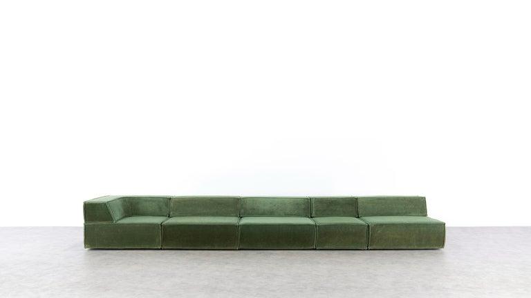Mid-Century Modern COR Trio Modular Sofa, Giant Landscape in Green, 1972 by Team Form AG, Swiss