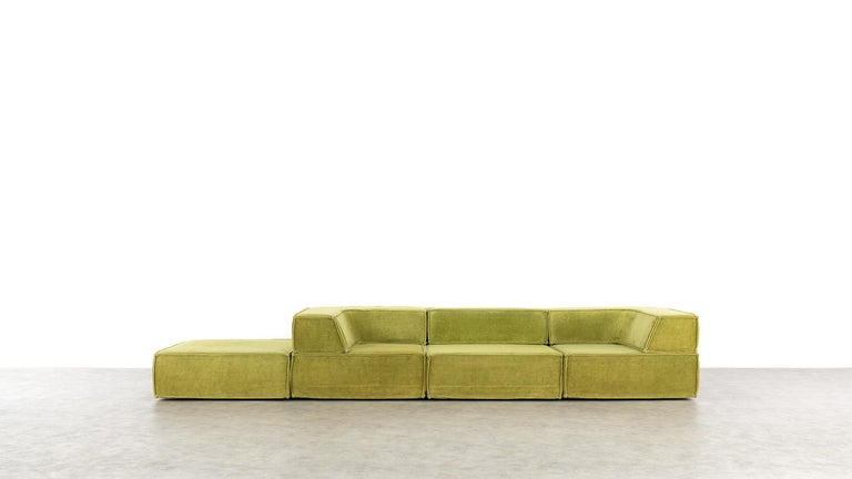 Mid-Century Modern COR Trio Modular Sofa, Giant Landscape in Green, 1972 by Team Form Ag, Swiss For Sale