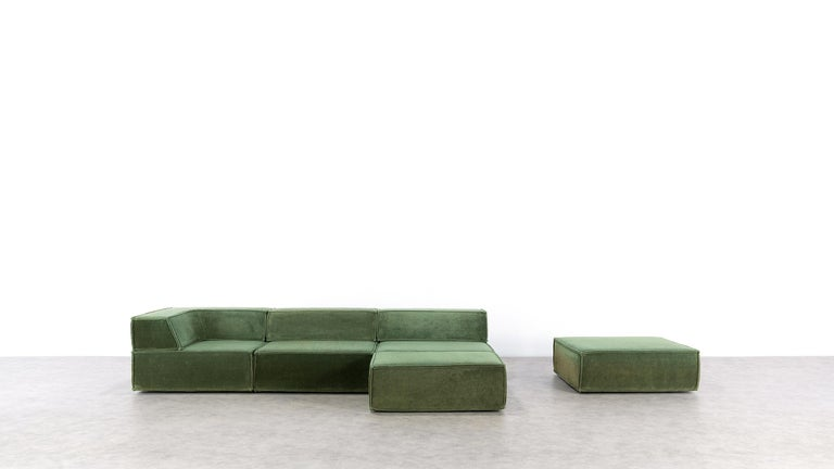 German COR Trio Modular Sofa, Giant Landscape in Green, 1972 by Team Form AG, Swiss