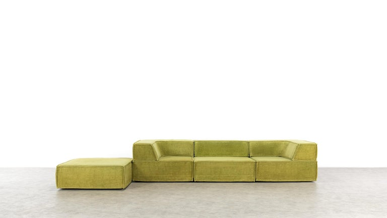 German COR Trio Modular Sofa, Giant Landscape in Green, 1972 by Team Form Ag, Swiss For Sale