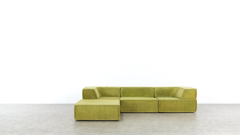 COR Trio Modular Sofa, Giant Landscape in Green, 1972 by Team Form Ag, Swiss In Good Condition For Sale In Munster, NRW