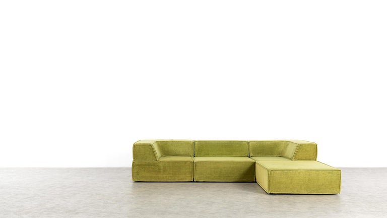 Late 20th Century COR Trio Modular Sofa, Giant Landscape in Green, 1972 by Team Form Ag, Swiss For Sale