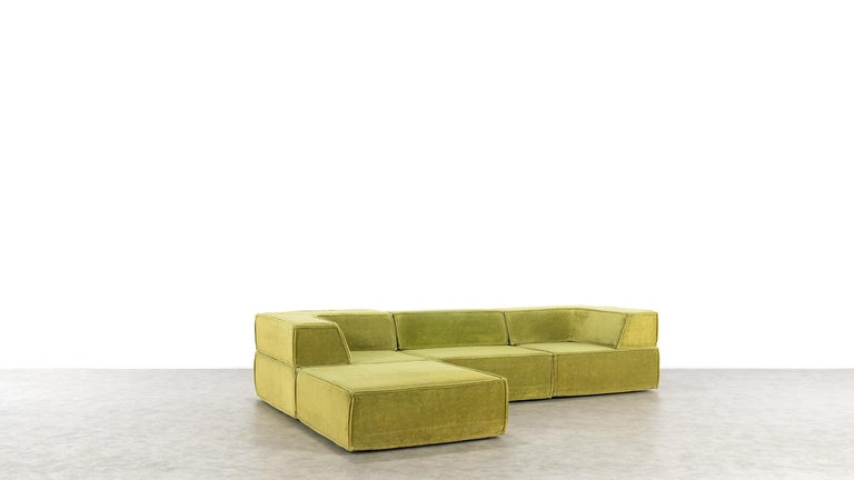 Fabric COR Trio Modular Sofa, Giant Landscape in Green, 1972 by Team Form Ag, Swiss For Sale