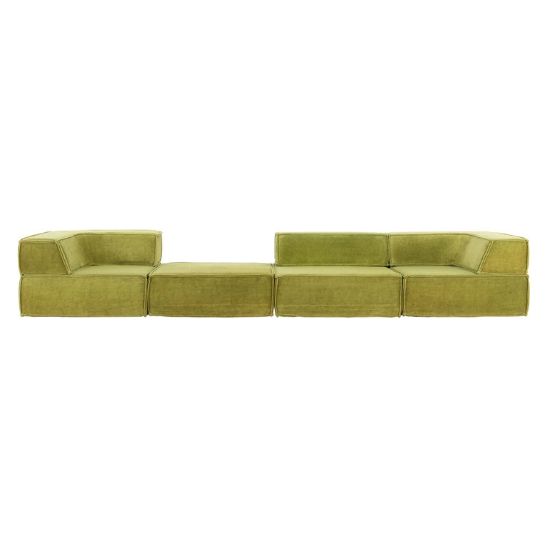 COR Trio Modular Sofa, Giant Landscape in Green, 1972 by Team Form Ag, Swiss For Sale