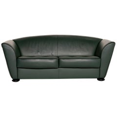 COR Zelda Leather Sofa Green Two-Seat Couch
