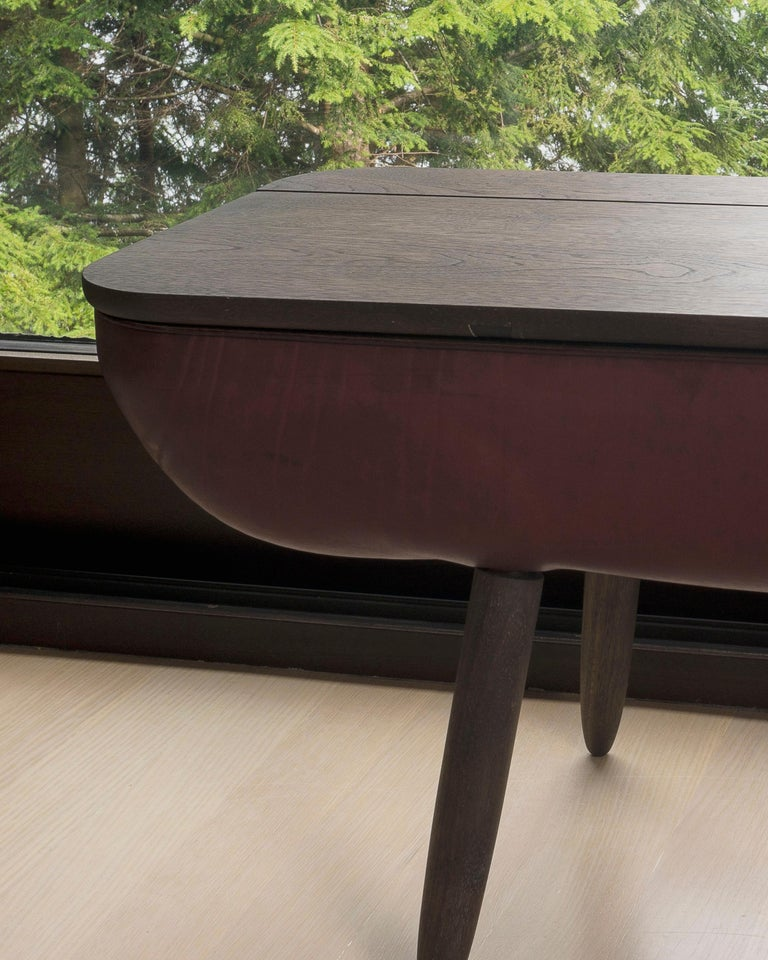 Coracle Bench with Storage, Walnut Wood and Burgundy Vegetable Tanned Leather 7