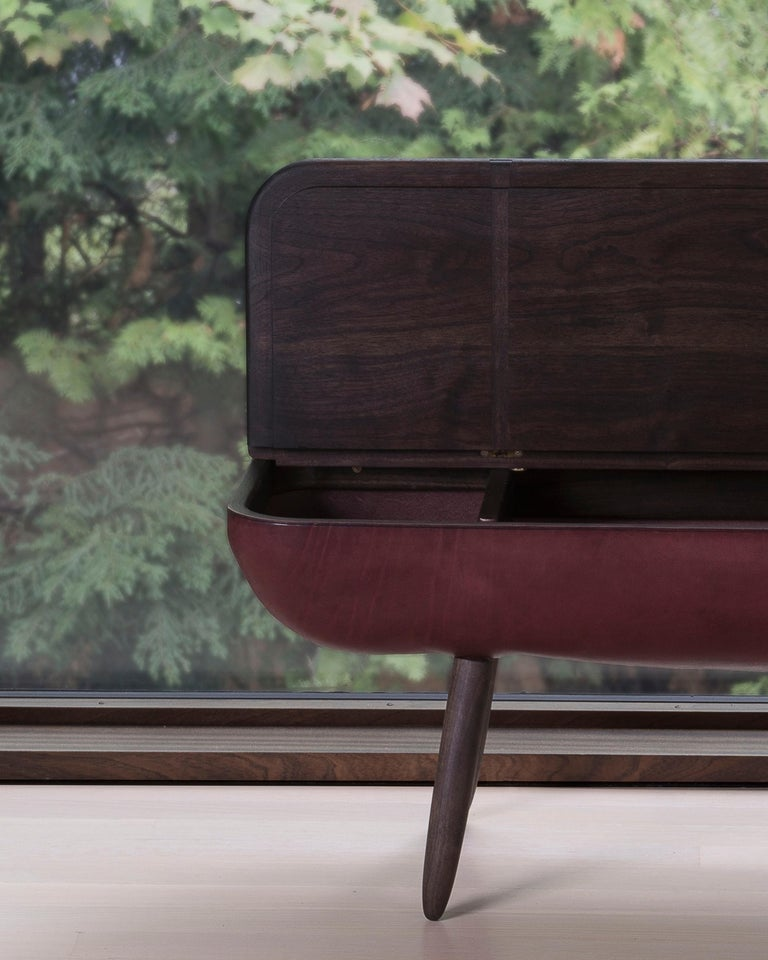 Coracle Bench with Storage, Walnut Wood and Burgundy Vegetable Tanned Leather 8