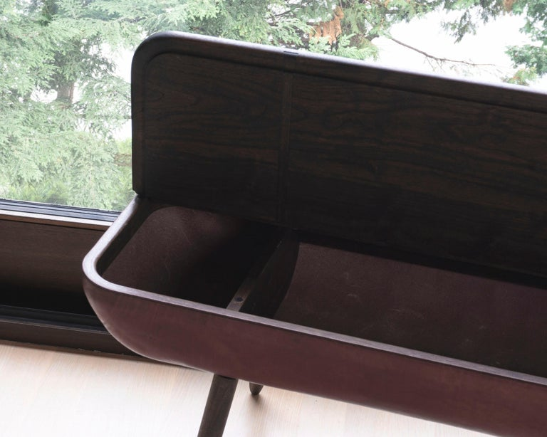 Coracle Bench with Storage, Walnut Wood and Burgundy Vegetable Tanned Leather 9