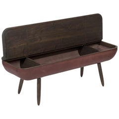 Coracle Bench with Storage, Walnut Wood and Burgundy Vegetable Tanned Leather
