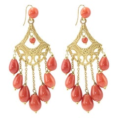 Coral 18 Karat Gold Chandelier Earrings