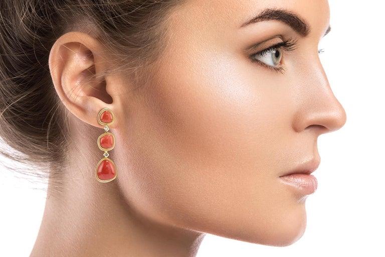 Women's Coral 18 Karat Gold Diamond Dangle Drop Earrings For Sale