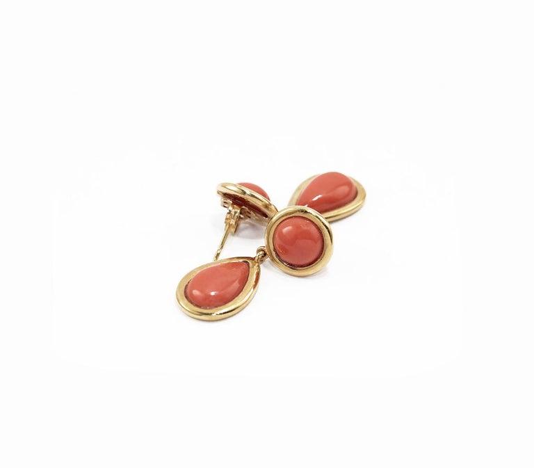 Artisan Coral 18 Karat Gold Drop Earring For Sale