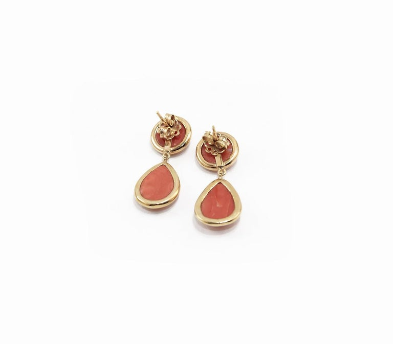 Coral 18 Karat Gold Drop Earring In New Condition For Sale In Torre del Greco, IT