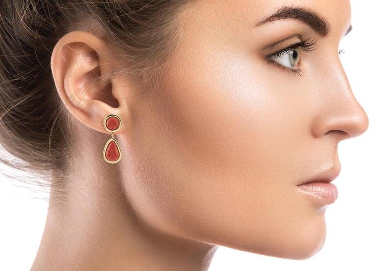 Women's Coral 18 Karat Gold Drop Earring For Sale