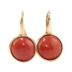 Coral 18 Karat Gold Drop Earring