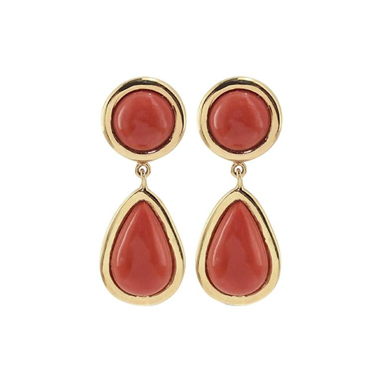 Coral 18 Karat Gold Drop Earring For Sale