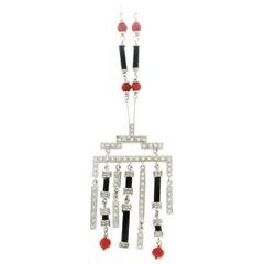 Coral 18 Karat White Gold, Onyx Diamonds Pendant Necklace