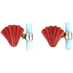 Coral 18 Karat Yellow Gold Mother of Pearl Barrel Cufflinks