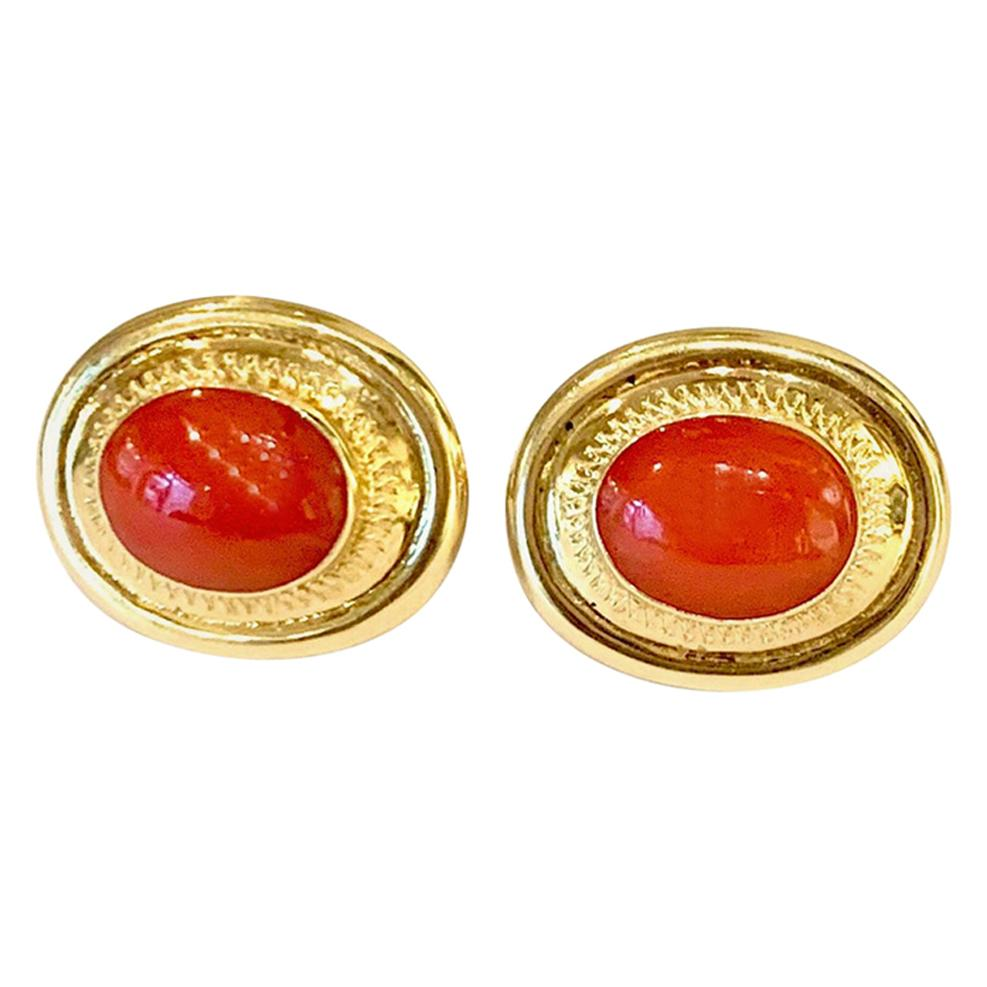 Coral 18 Karat Yellow Gold Stud Earrings