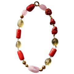 Coral 18 Karat Gold Citrine Rose Quartz Necklace