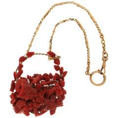 Coral 9 Karat and 18 Karat Yellow Gold Drop Necklace