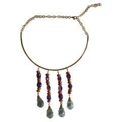Coral Amethyst 18 Karat Gold Aquamarine Little Fringe Necklace