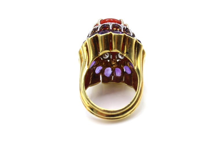 Cabochon Coral Amethyst Diamond 18 Karat Gold 1980s Cocktail Ring For Sale