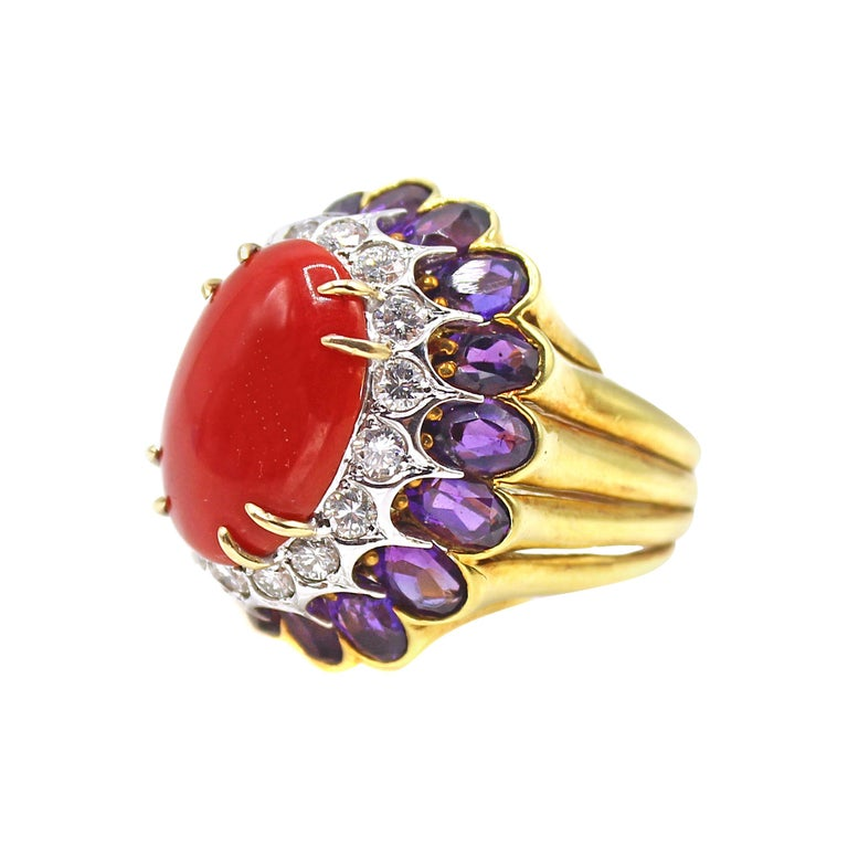 Coral Amethyst Diamond 18 Karat Gold 1980s Cocktail Ring For Sale