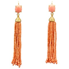 Coral and 14 Karat Gold Tassle Earrings