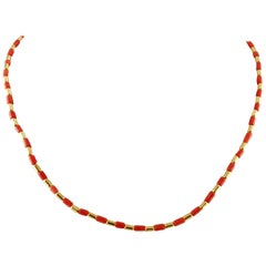 Coral and 18 Karat Yellow Gold Necklace