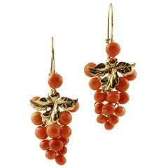 Coral and 9 Karat Yellow Gold Earrings