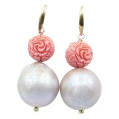 Coral and Baroque Pearl Medium Drop Earrings